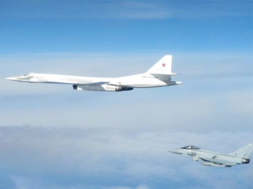 Typhoons from RAF Lossiemouth intercepted two Russian Blackjack bombers.