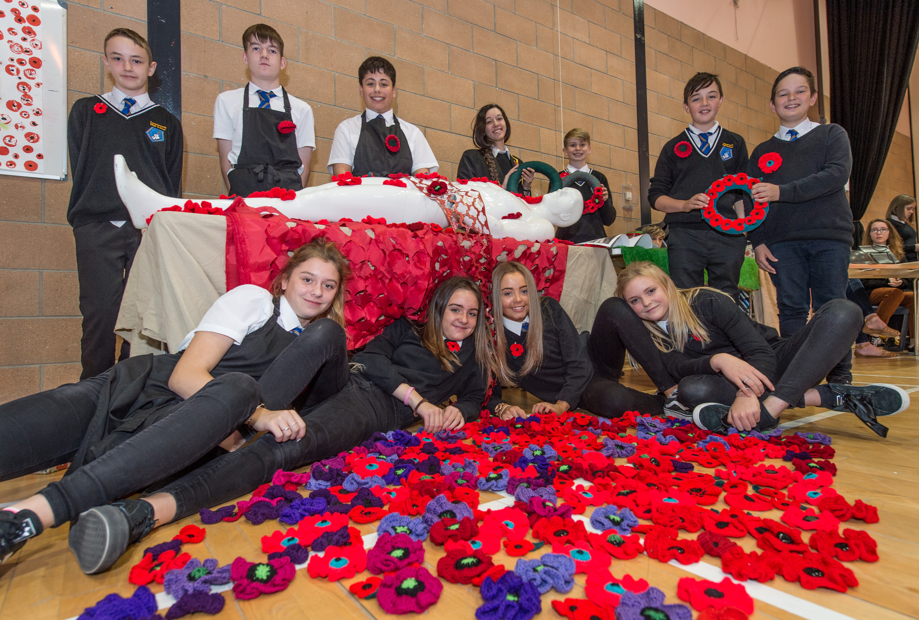 S1 students at Lossiemouth High School created their own poppies and wreaths for the event.