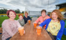 15/09/2018 - Pictures show beer festival goer's at Forres Mechanics Ground where the Pitch Perfect Beer festival is taking place today - Pictures by JASON HEDGES      Picture L2R - Pauline and Rachael Ballingall, Lynn Allan, Denise Welsh and Melanie Ollvant from Forres.