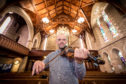 Picture by JASON HEDGES  To celebrate the opening of the 3rd Findhorn Bay Concert, Pictures show Duncan Chisolm in rehearsals at St Laurence Church in Forres.