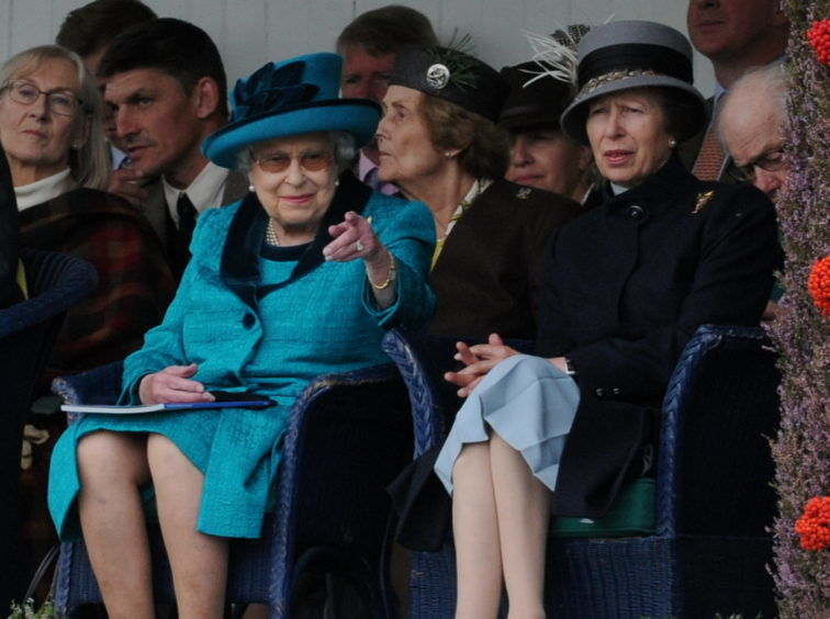 Braemar Gathering 2018, at The Princess Royal and Duke of Fife Memorial Park in Braemar. Picture of the Queen and Princess Anne watching the games.  Picture by KENNY ELRICK     01/09/2018