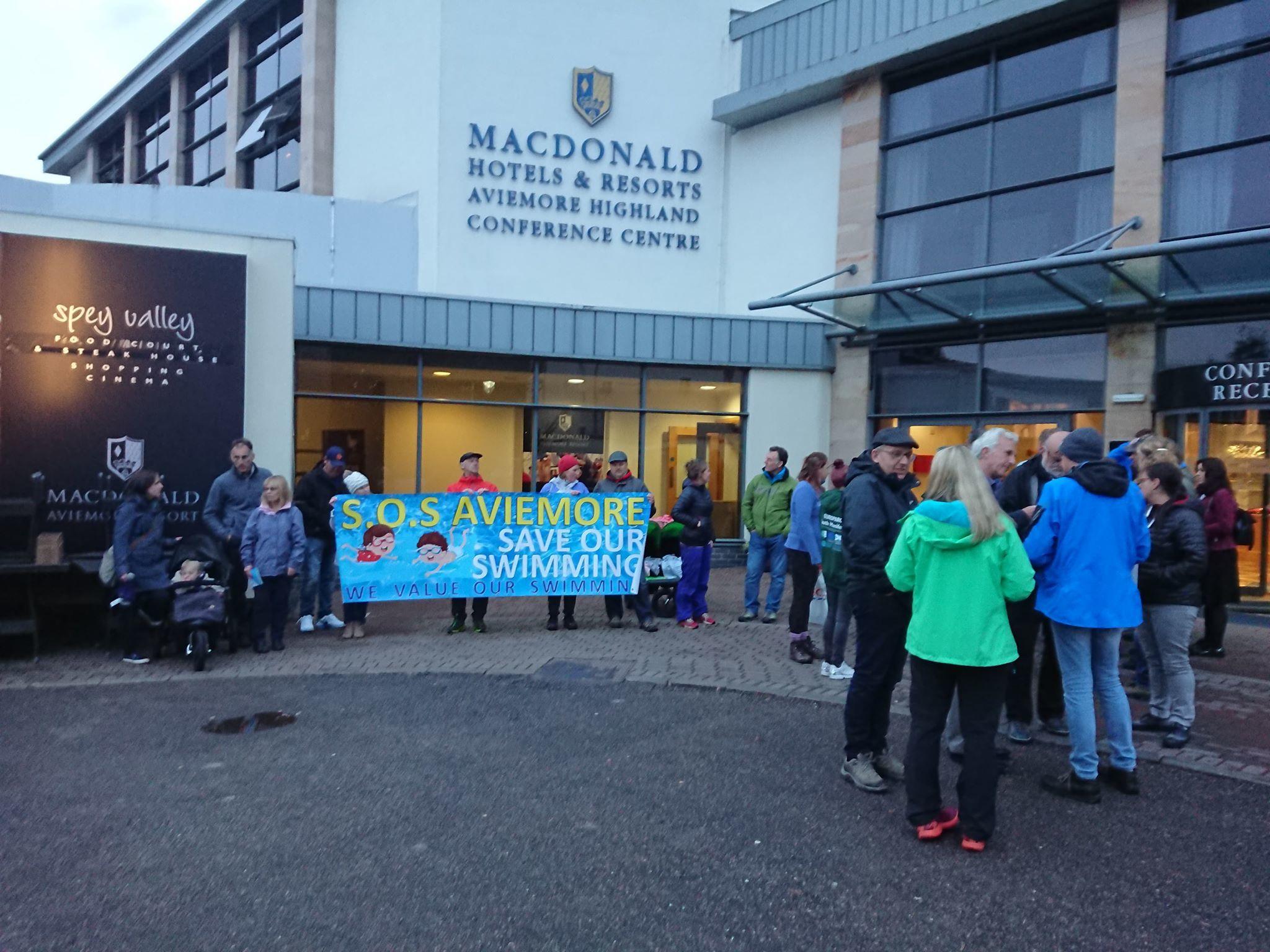 Demonstrators at the Macdonald Aviemore Resort