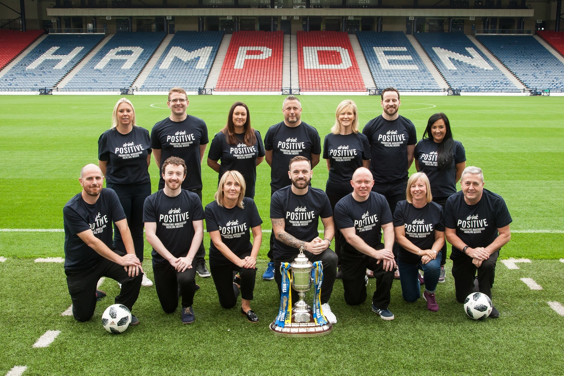 Diageo launches its Drink Responsibly campaign with the SFA represented by James McFadden, Assistant Coach, Scotland. Hampden Park, Glasgow. 20 Sep 2018. (Copyright photo by Tina Norris 07775 593 830) More info from Ian Smith, Head of Corporate Relations, Scotland, Diageo: )131 519 2045 / 07736 786 888 Copyright photograph by Tina Norris. Not to be archived or reproduced without prior permission and payment. Contact Tina on 07775 593 830 info@tinanorris.co.uk www.tinanorris.co.uk http://tinanorris.photoshelter.com