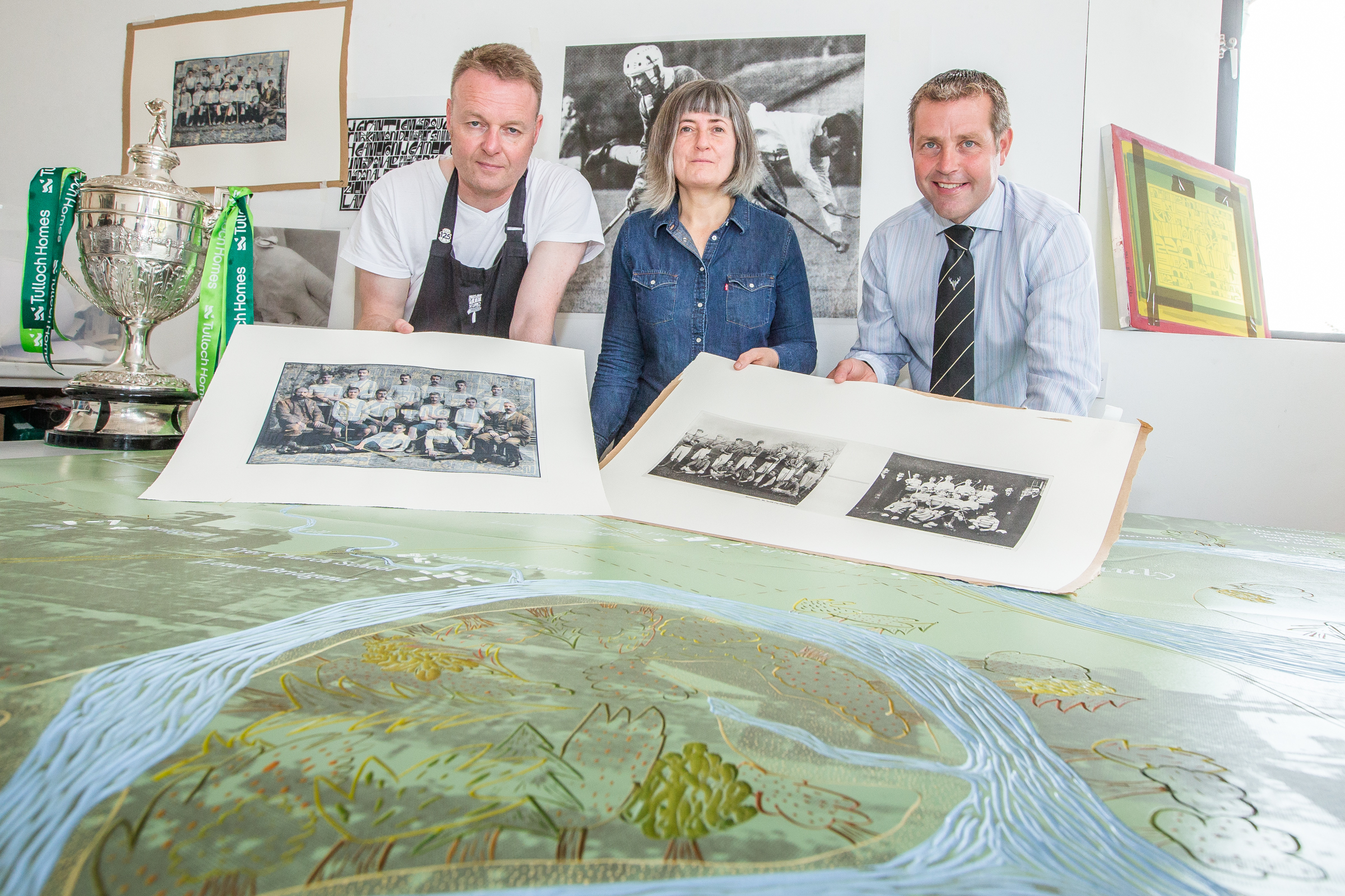 Artists John McNaught, Deidre Nelson and Vice-President of the Camanachd Association Steven MacKenzie gathered to launch the Throw Up 20.18 project in Inverness.