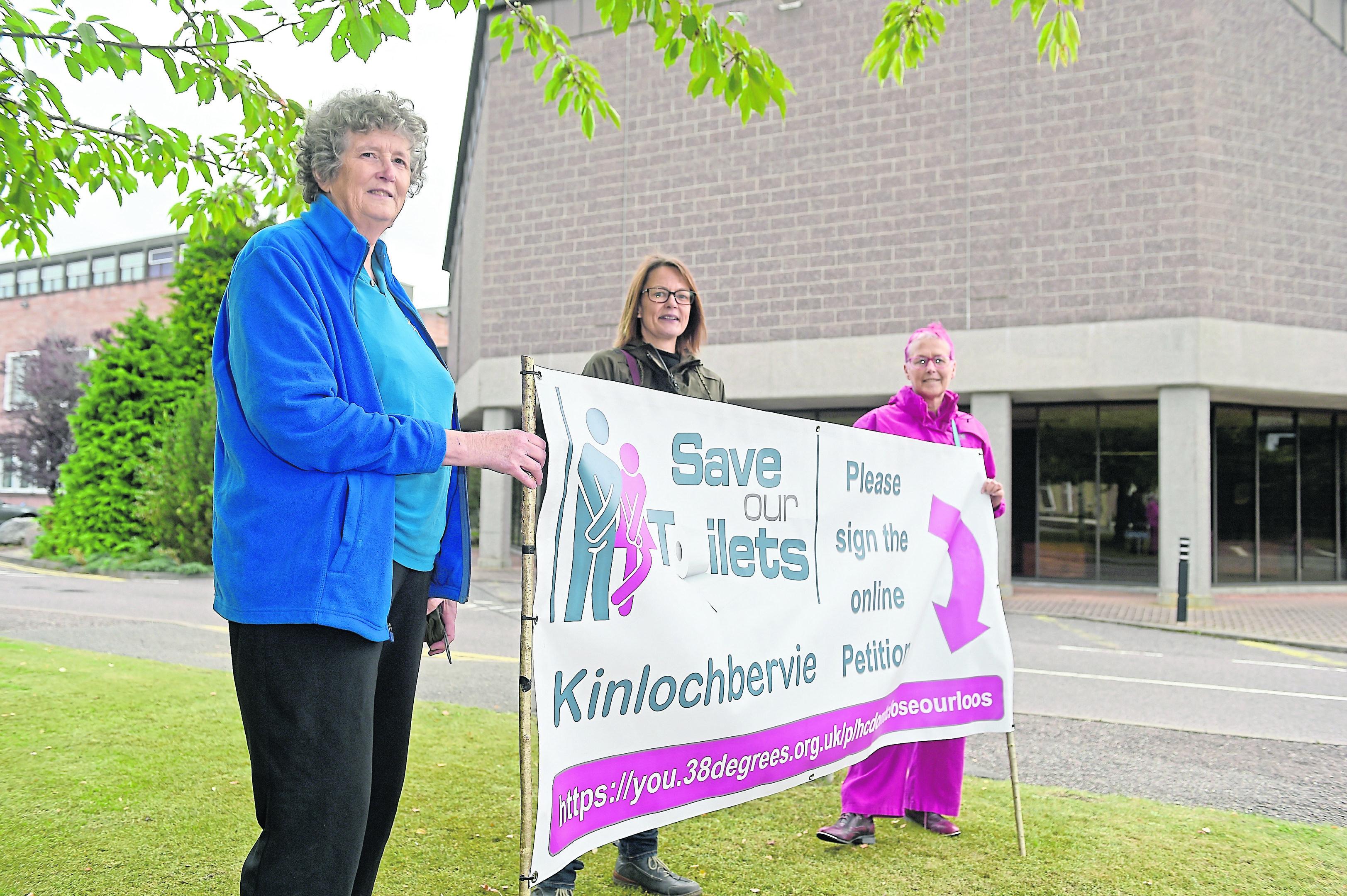 Protesters (L-R) Margaret Meak and Heidi Majanen both of Kinlochbervie and Christina Perera of Strath Brora.