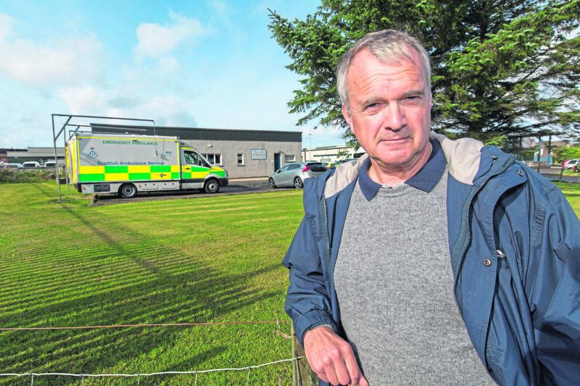 Ron Gunn vice chairman of the Caithness Health Action Group, at Thurso Amulance depot
