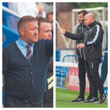 Caley Thistle boss John Robertson (left) and Ross County co-managers Stuart Kettlewell and Steven Ferguson.