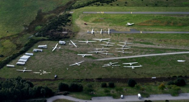 A total of 26 pilots and their gliders are competing at Deeside Gliding Club. Picture by Colin Rennie.