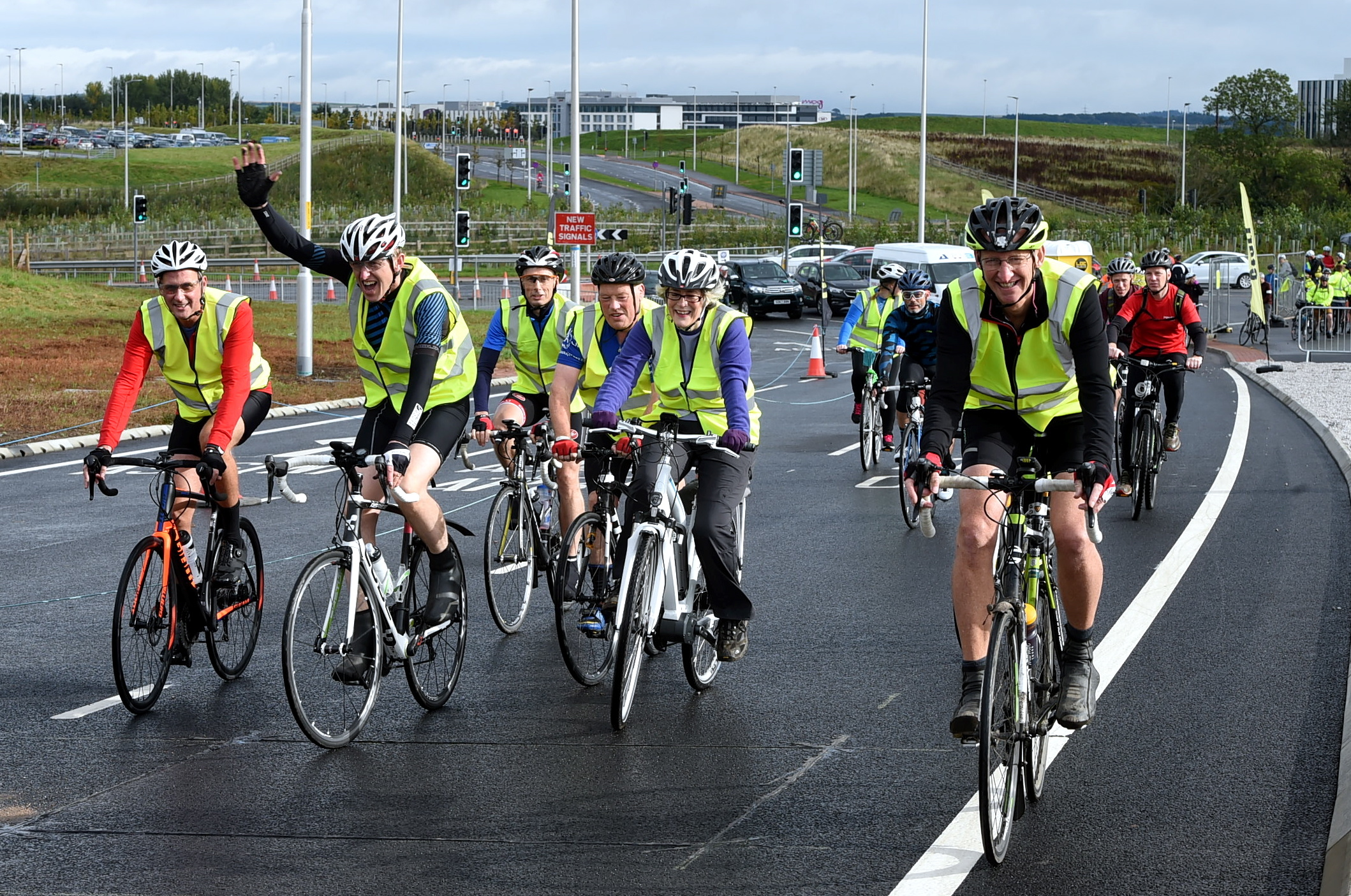 Cyclists at the bike run on the AWPR, Craibstone, part of the GoNorthEast festival event.