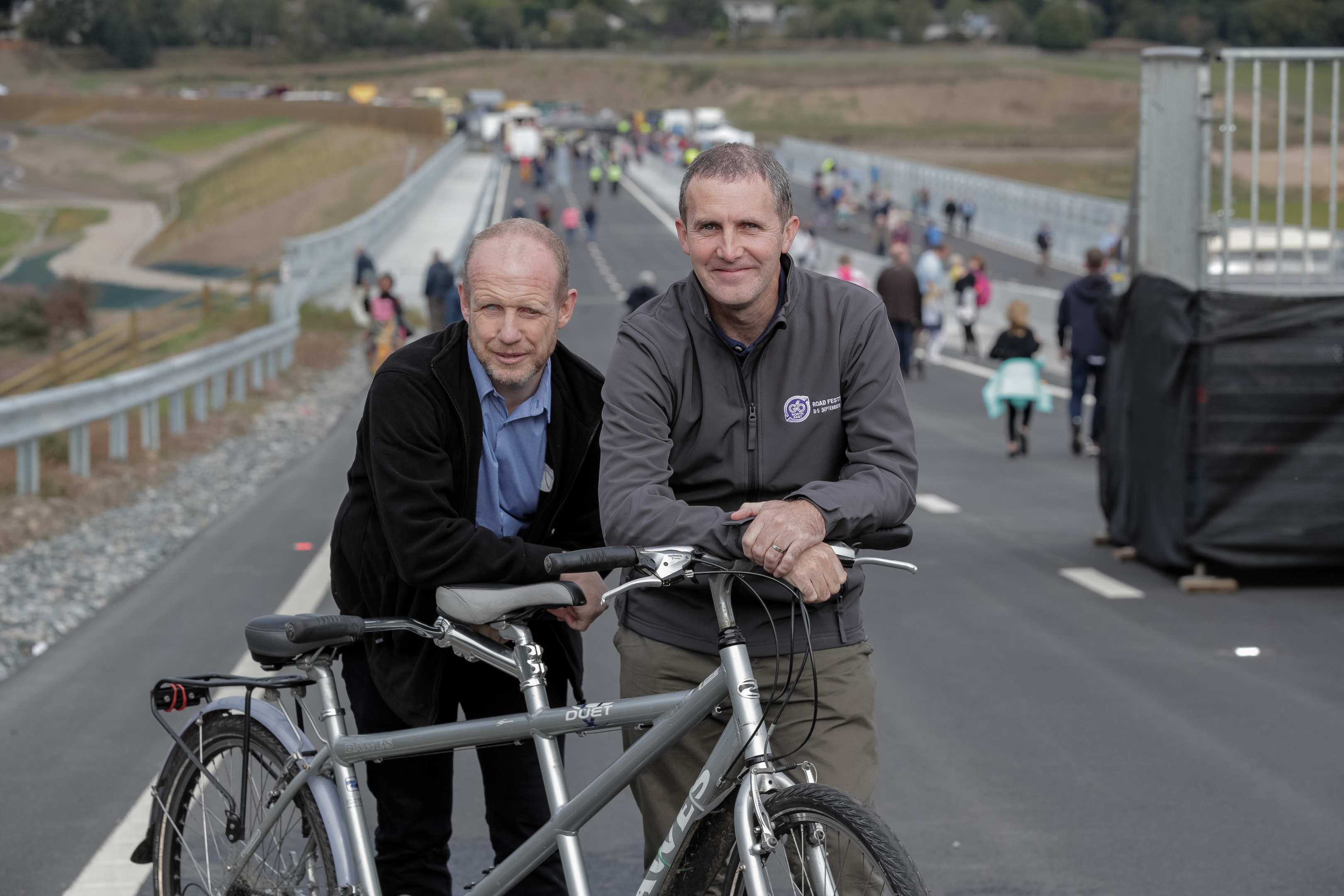 Scottish transport minister Michael Matheson on the new bypass before it officially opened with Neil Skene, co-ordinator north-east sensory services.