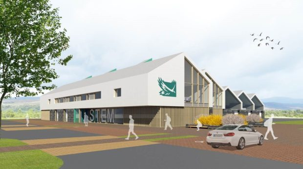 The proposed campus building for science, technology, engineering and medicine at the Blar Mor near Fort William.