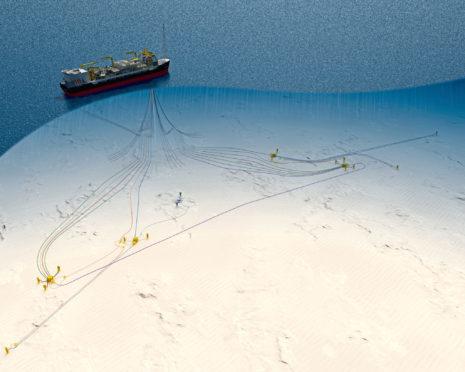 CAPTION: An graphic illustration of Chevron's plans for the Rosebank development, north west of Shetland.