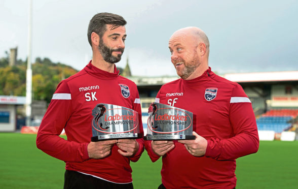 Ross County co-managers Stuart Kettlewell (L) and Steven Ferguson win the Ladbrokes Championship managers of the month awards for September.