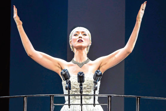 Lucy O'Byrne as Eva Peron in Evita.