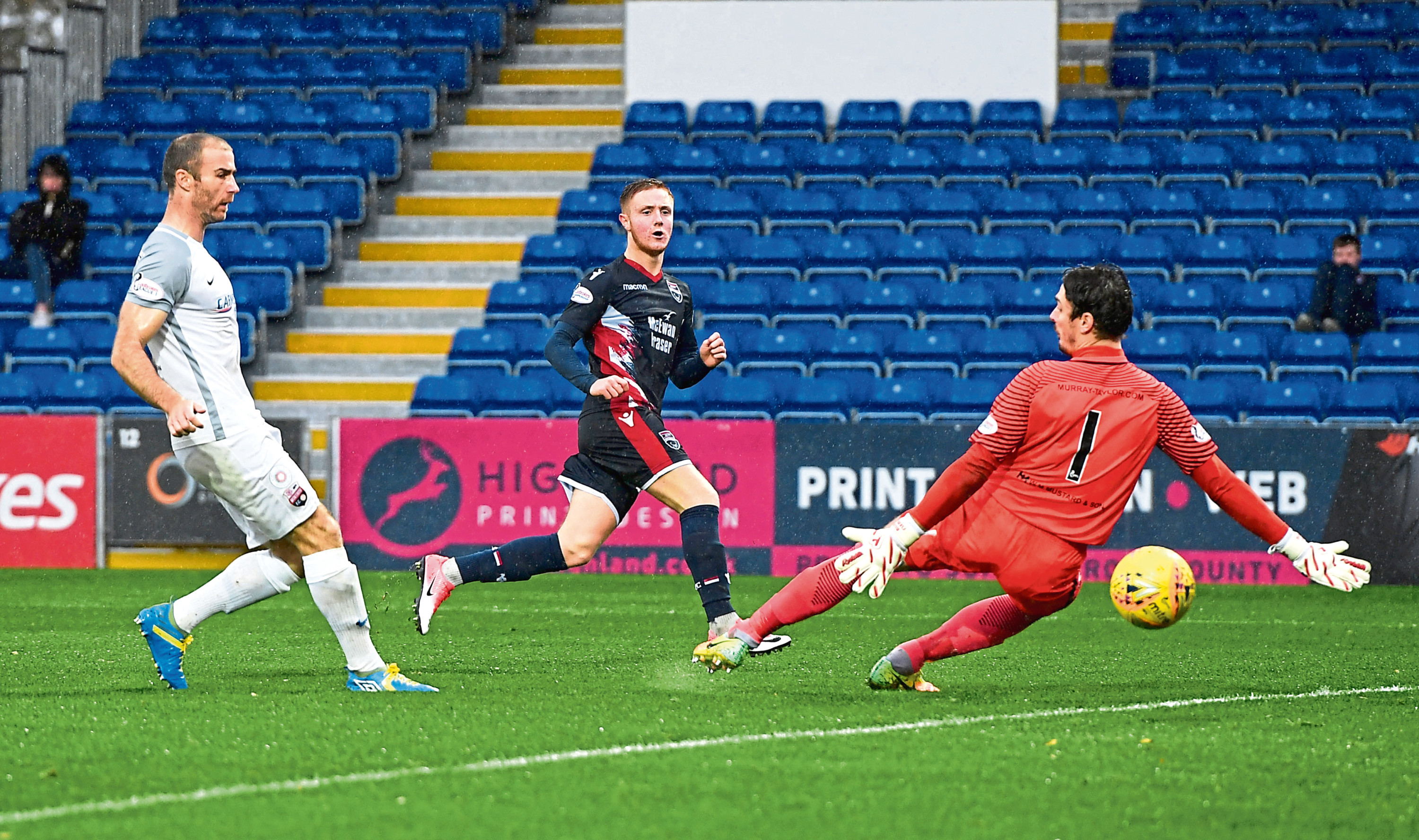 Davis Keillor-Dunn scores his second against Montrose in the IRN-BRU Cup
