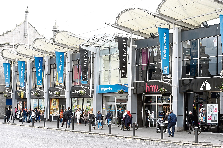 Locator of shops on Union Street, Aberdeen.  Picture by Jim Irvine  14-4-16    Trinity Centre  HMV Waterstones Debenhams