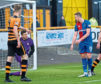 Neil Parry of Alloa Athletic and ICT's Jordan White.
