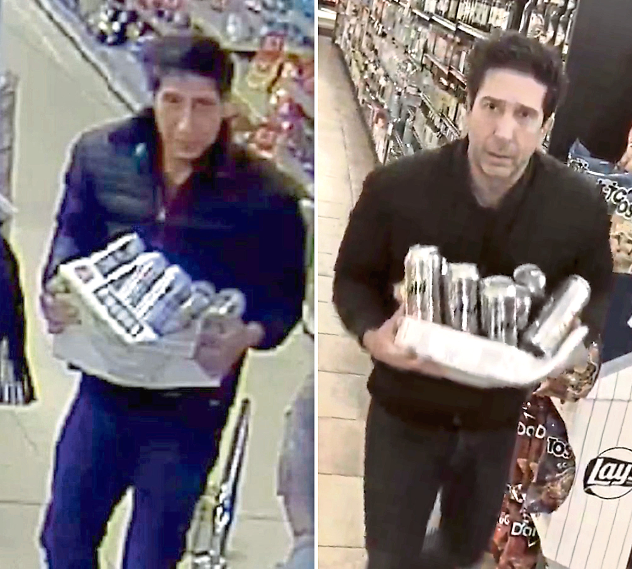 Friends actor David Schwimmer posted a picture of himself with a case of beer in New York after CCTV footage of an alleged beer thief in Blackpool, resembling the actor, left, was posted by police.