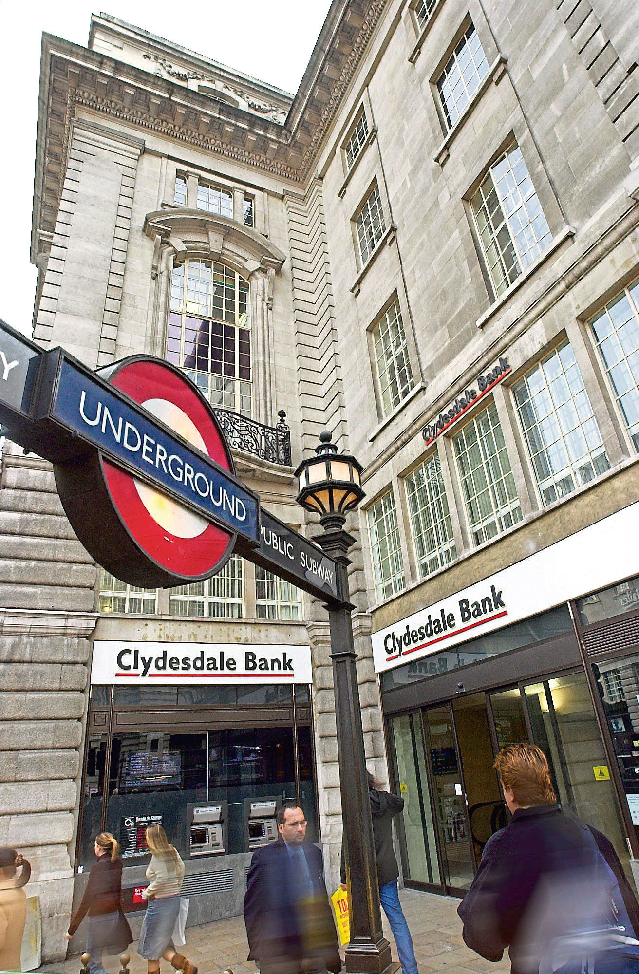 "Clydesdale and Yorkshire Banks are to close 28 ""unsustainable"" branches and invest £45m in customer improvements under plans to reshape their retail banking operations.  Clydesdale and Yorkshire, part of National Australia Bank (NAB), expect to save £5m by the branch closures.  The banking group said that frontline jobs would be safeguarded.  New posts are being created at their busiest branches, while support will be given to displaced branch managers.  The banks said their network of 320 branches would be reshaped over the next nine months as part of a £25m branch investment programme.  Six ""flagship"" branches will be developed, including the Glasgow head office of the Clydesdale Bank and the newly-refurbished London Piccadilly branch, (PICTURED) along with four new large branches in Aberdeen,   Picture: Universal News And Sport (Scotland) 25 March 2014."