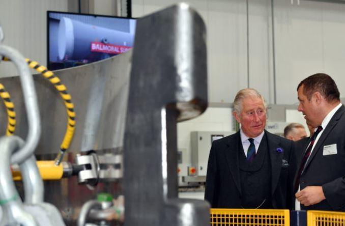 HRH Prince Charles, The Duke of Rothesay, visited Balmoral Offshore Engineering, Aberdeen to officially open the new Balmoral Subsea Test Centre. Pictured - Prince Charles is shown around the new test centre by Derek Weir.