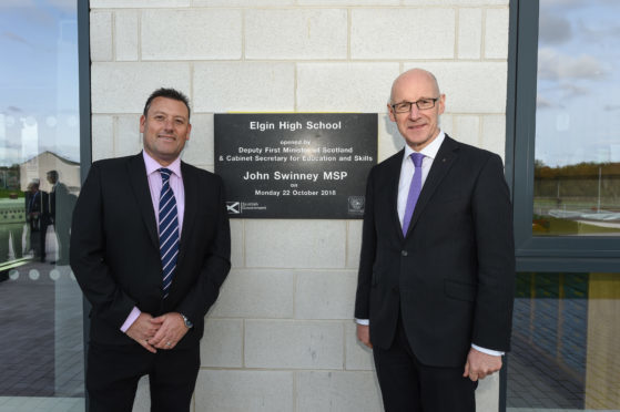 Head teacher Hugh McCulloch and Deputy First Minister John Swinney at the official opening of Elgin High School.