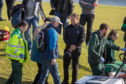 Tyrrell Hatton speaks to the fan he struck with a wayward shot at Kingsbarns