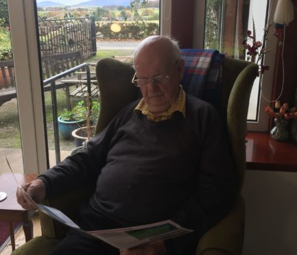 94 year-old Jack Sleigh has lived on his family farm at Fingask since 1942 and is concerned about the possibility of the A96 being routed through it.