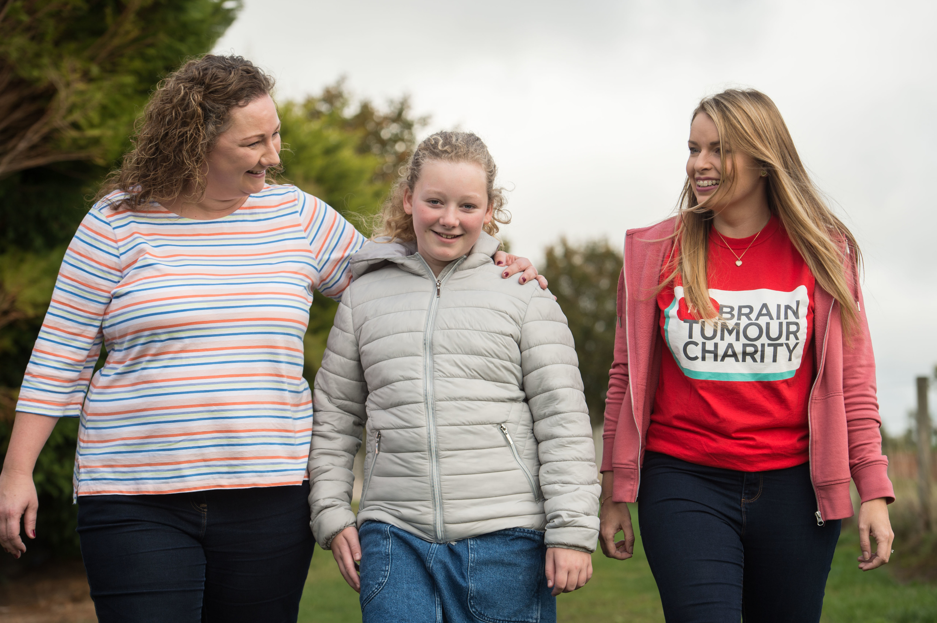 Maggie Walker (L) with her daughter Sarah and The Brain Tumour Charity Community Fundraiser Katie Grier