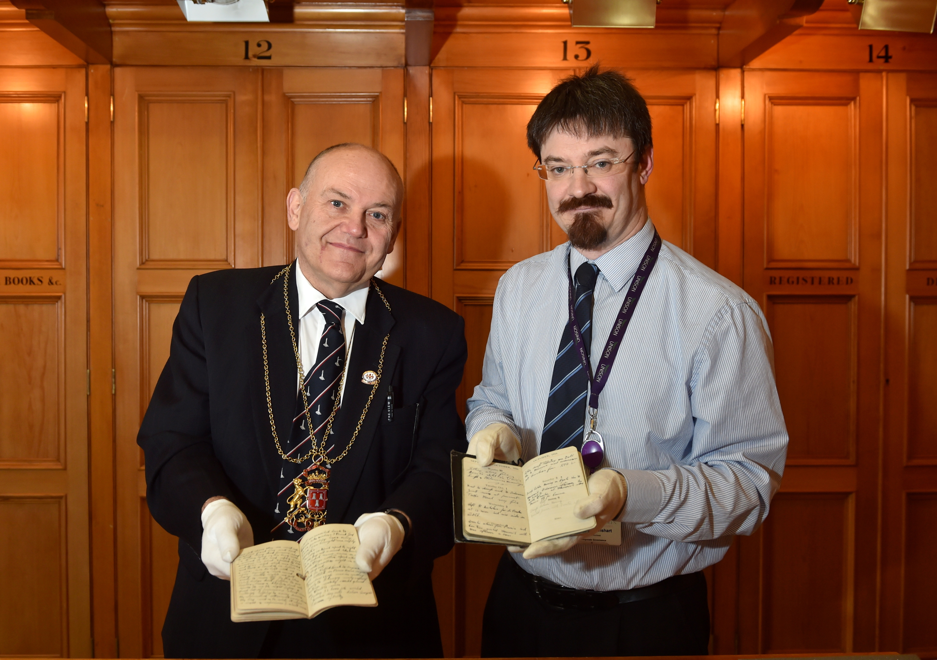 Lord Provost Barney Crockett and Ruaraidh Wishart, senior archivist at Aberdeen City and Aberdeenshire Archives, with the collection