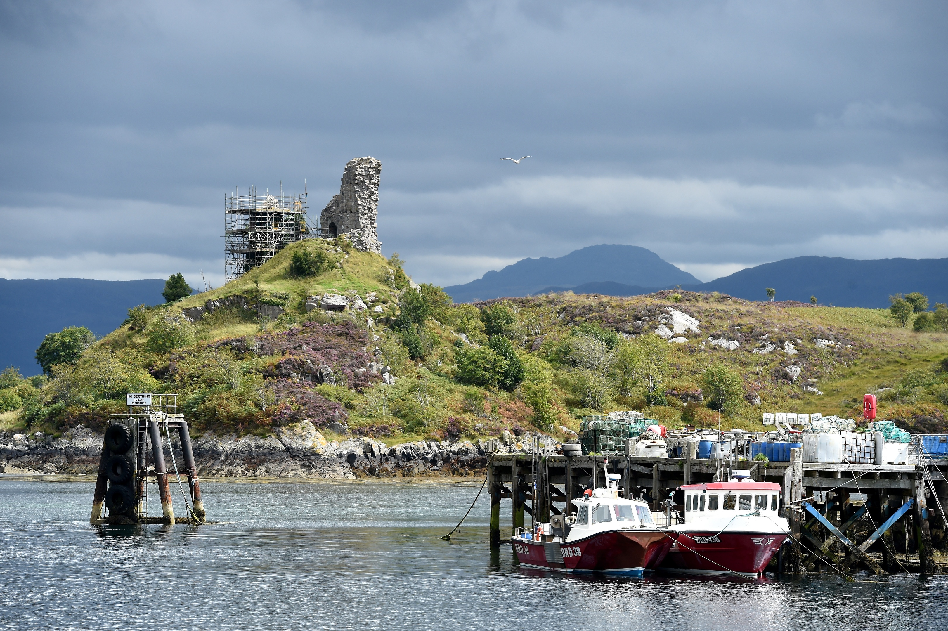 Castle Moil in Kyleakin underwent repairs following a lightning strike earlier this year. Picture by Sandy McCook