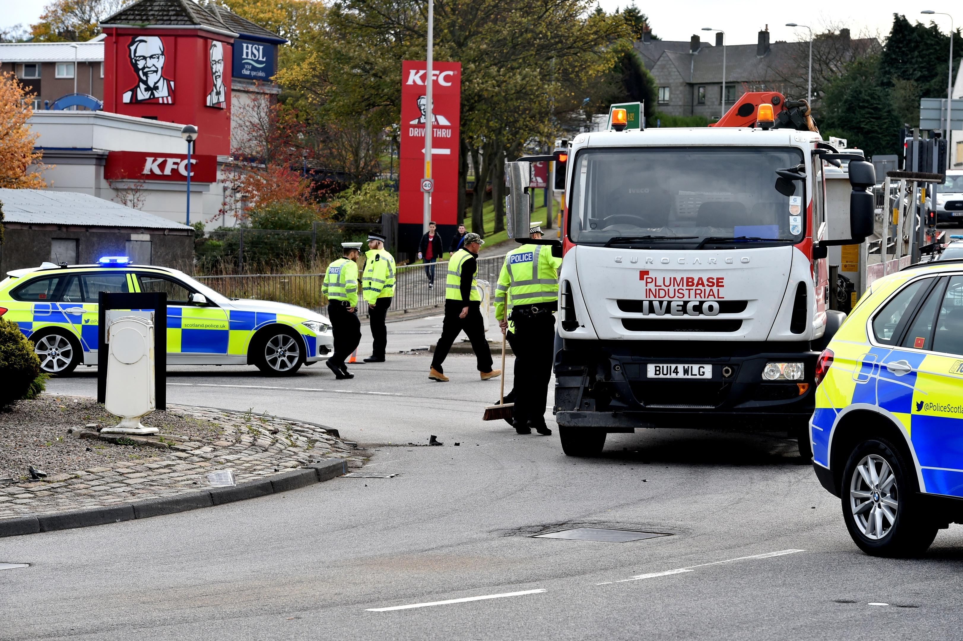 The crash scene at the Haudagain roundabout
