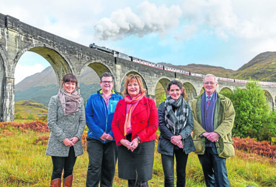 Cabinet Secretary Fiona Hyslop at Glenfinnan Viaduct to announce a new tourist initiative including a new visitor car park in the area.