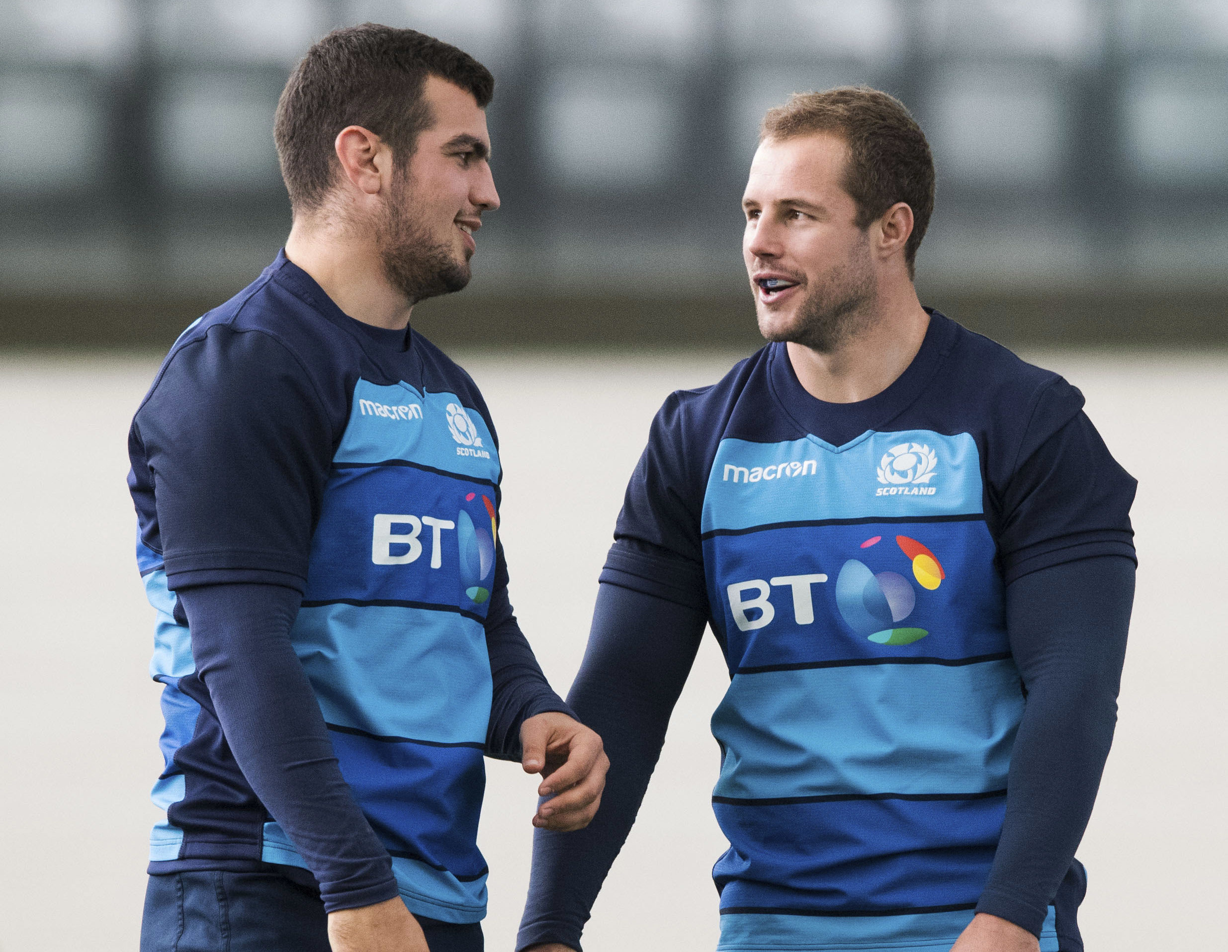 Scotland's Allan Dell (R) with Stuart McInally aheah of Scotland's clash with Wales.