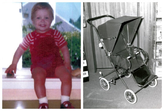 Andrew Macrae and a pram similar to the one that was never recovered.