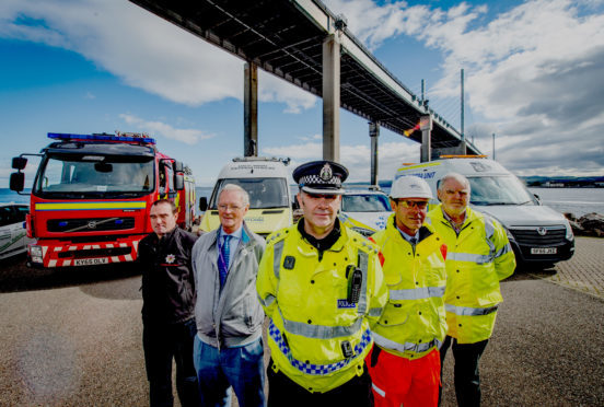 Partner agencies gathered at the Kessock Bridge in Inverness as operation CEDAR launches.