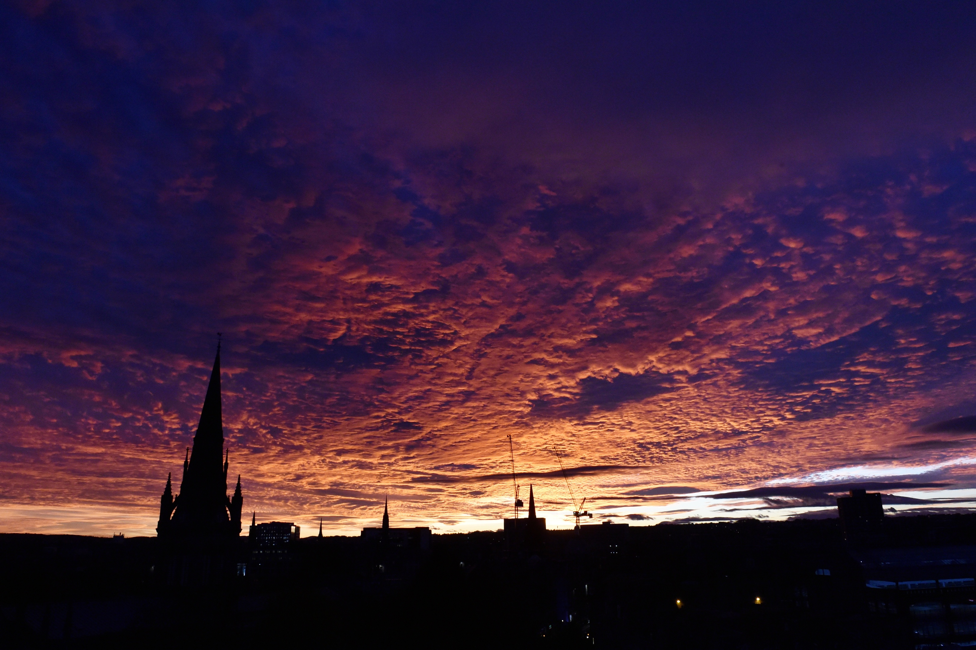 October 24th's incredible sunset seen from the Press and Journal's offices in Marischal Square.