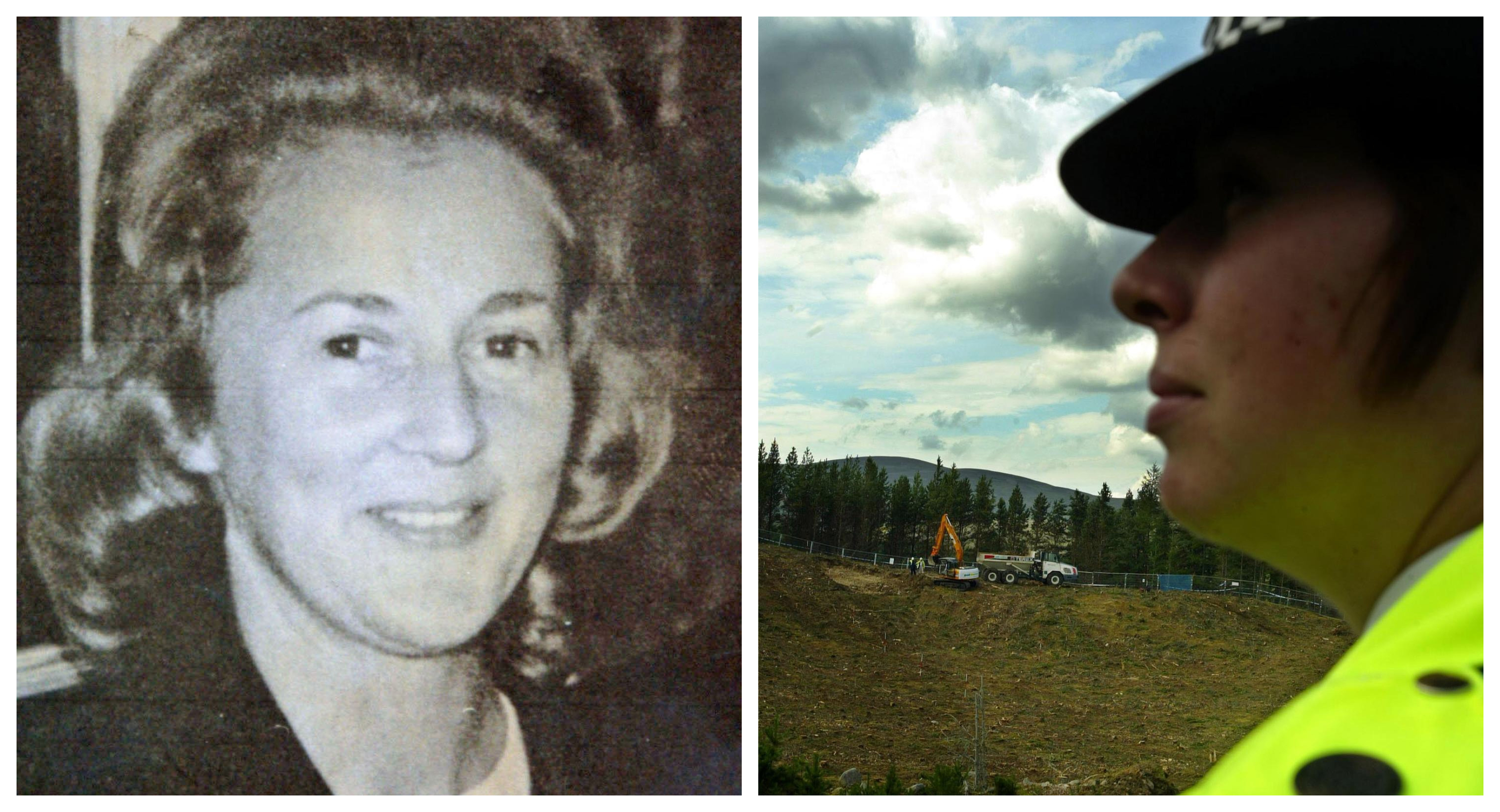 Renee Macrae (left) and a police officer during a previous search of Dalmagarry quarry off the A9.