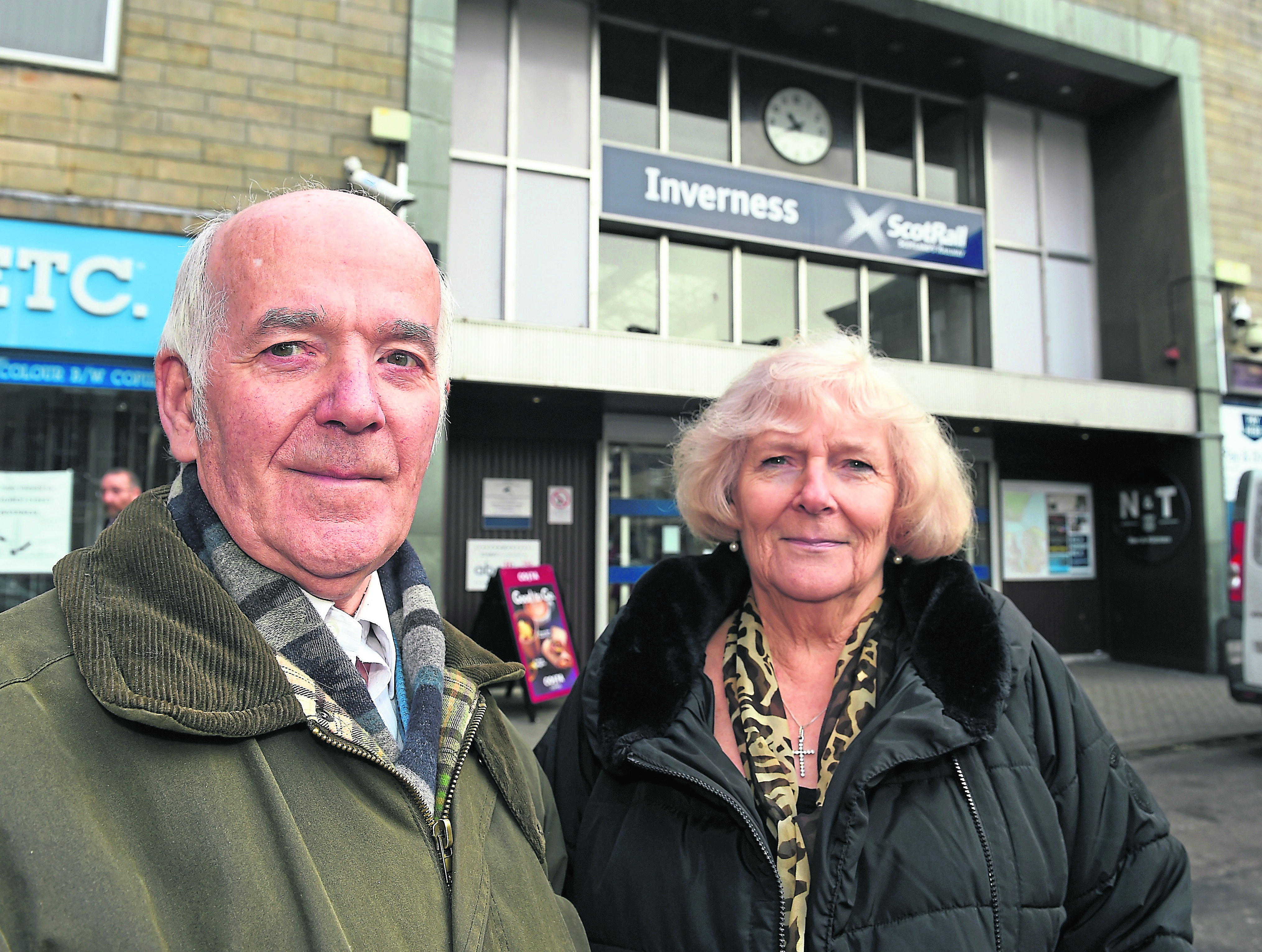 Train distruption on the Perth to Inverness railway line following  track damage near Dunkeld. Prospective travellers Vincent Holligan with his wife Evelyn from Edinburgh, stranded at Inverness Railway Station. Picture by Sandy McCook.