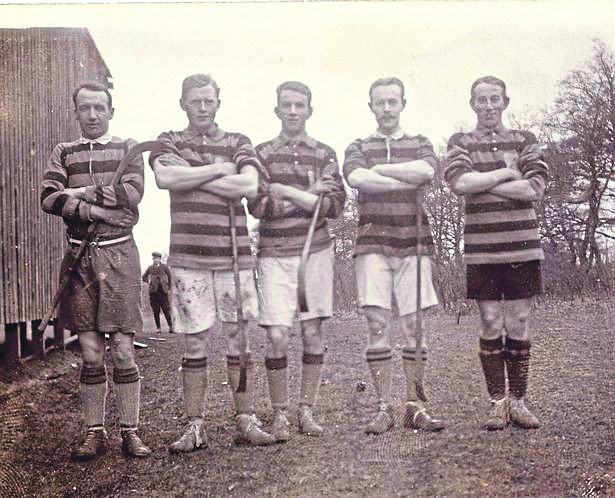 Members of Kingussie's Camanachd Cup-winning side from 1914. Most of them were killed in the war.