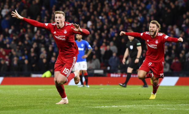 Lewis Ferguson celebrates his goal against Rangers in the League Cup semi-final.