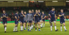 Scotland's players applaud the fans after the game.