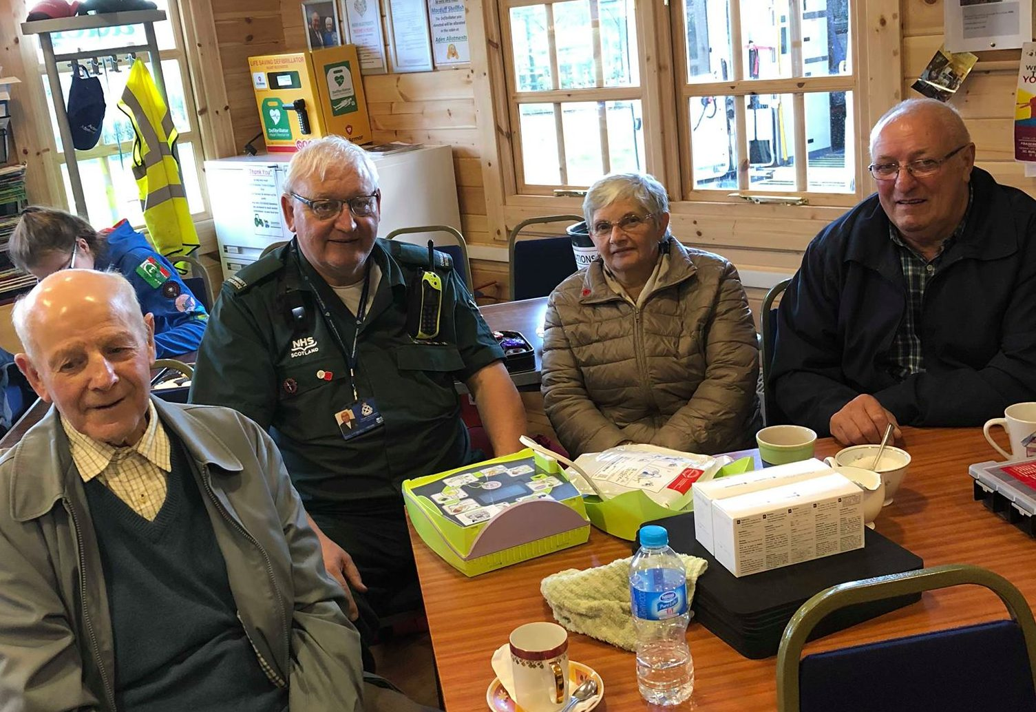 Some of the group who took part in Saturday's Restart a Heart day at the cabin at Aden Allotments.