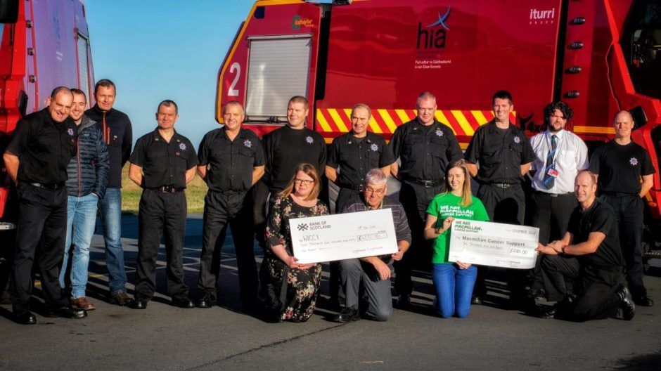 Staff from Stornoway Airport presented cheques to Helen Sandison and Donald MacLeod of the Western Isles Cancer Care Initative and Sara Maciver of Macmillan Cancer Support.