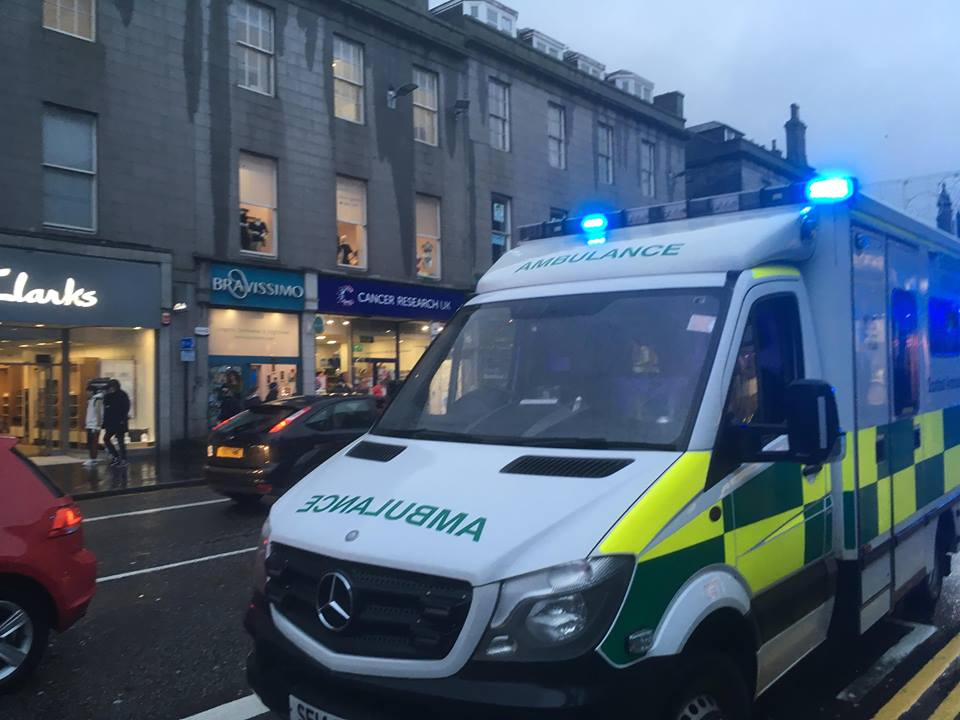 Ambulance at the scene of incident on Union Street