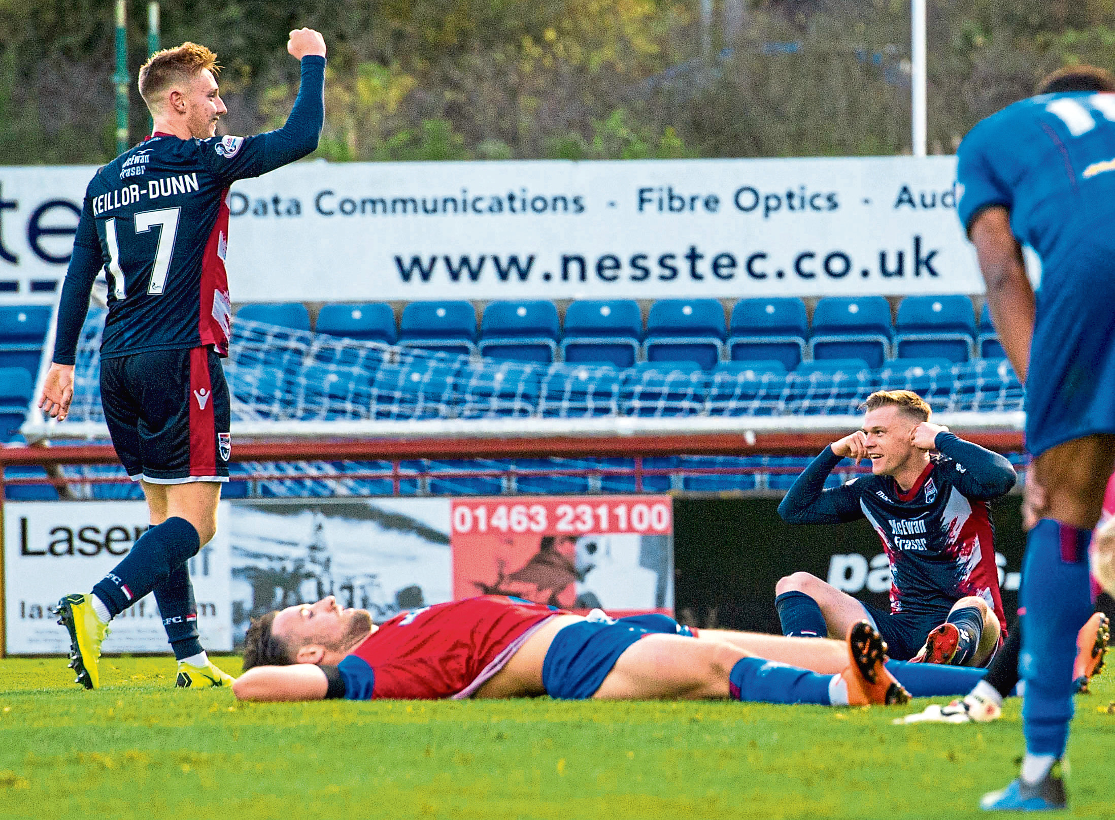 Ross County's Billy McKay (far right) celebrates Ross County's equaliser.