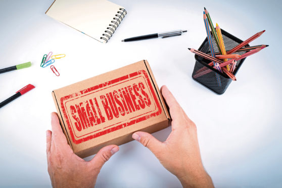 Small Business stamp. Courier delivered  box to the office