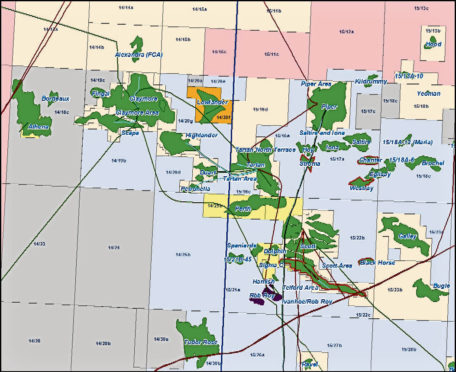 1. A map of the oil fields around the Greater Perth Area. Note that Parkmead also holds 100% of the Polecat and Marten oil fields which are situated just off to the south of this map. Buzzard and Golden Eagle (both Nexen operated) are just off to the south west of the map.