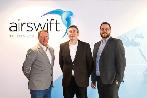 Airswift regional director Peter Denham, left, with Aberdeen client service managers David Gibb and Phil Hoyle.