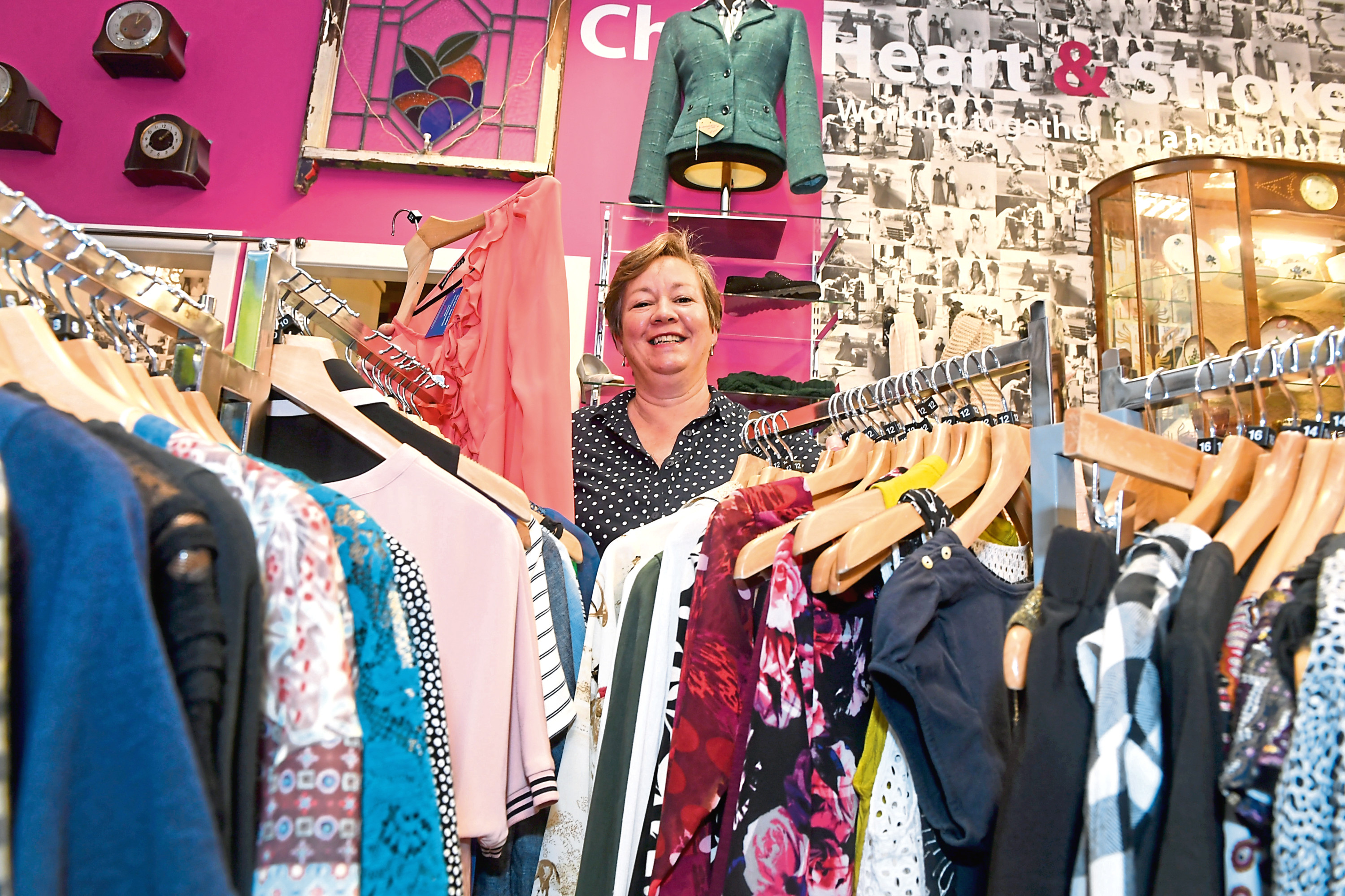 Lesley Skinner sorts the stock at the Chest Heart and Stroke Charity Shop in Cults.