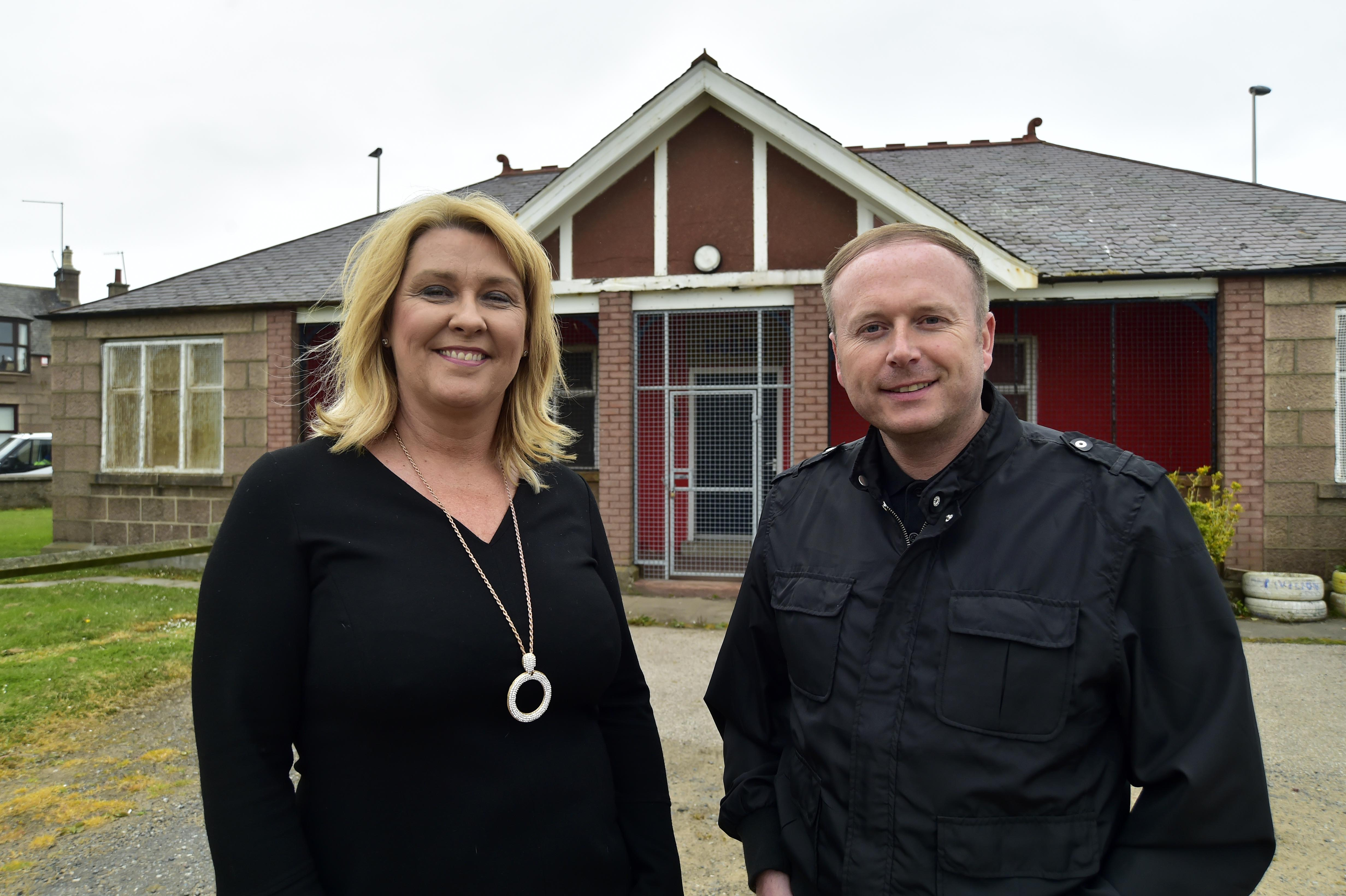 Peterhead Area Community Trust (Pact) chairwoman Dianne Beagrie and committee member Graeme Mackie at the Barclay Park Pavilion